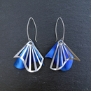 Radiating Swirl Dangle Earrings Blue